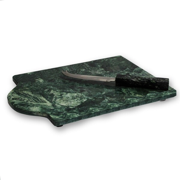 American Atelier Green Marble Cutting Board with Knife