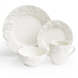 American Atelier White 16-Piece Earthenware Dinnerware Set