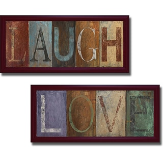 Patricia Pinto 'Laugh and Love' Framed 2-piece Canvas Art Set