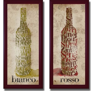 Sd Graphics 'Blanco and Rosso Wine' Framed 2-piece Canvas Art Set