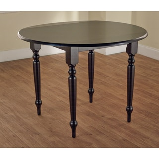 Black Hardwood Drop Leaf Dining Table