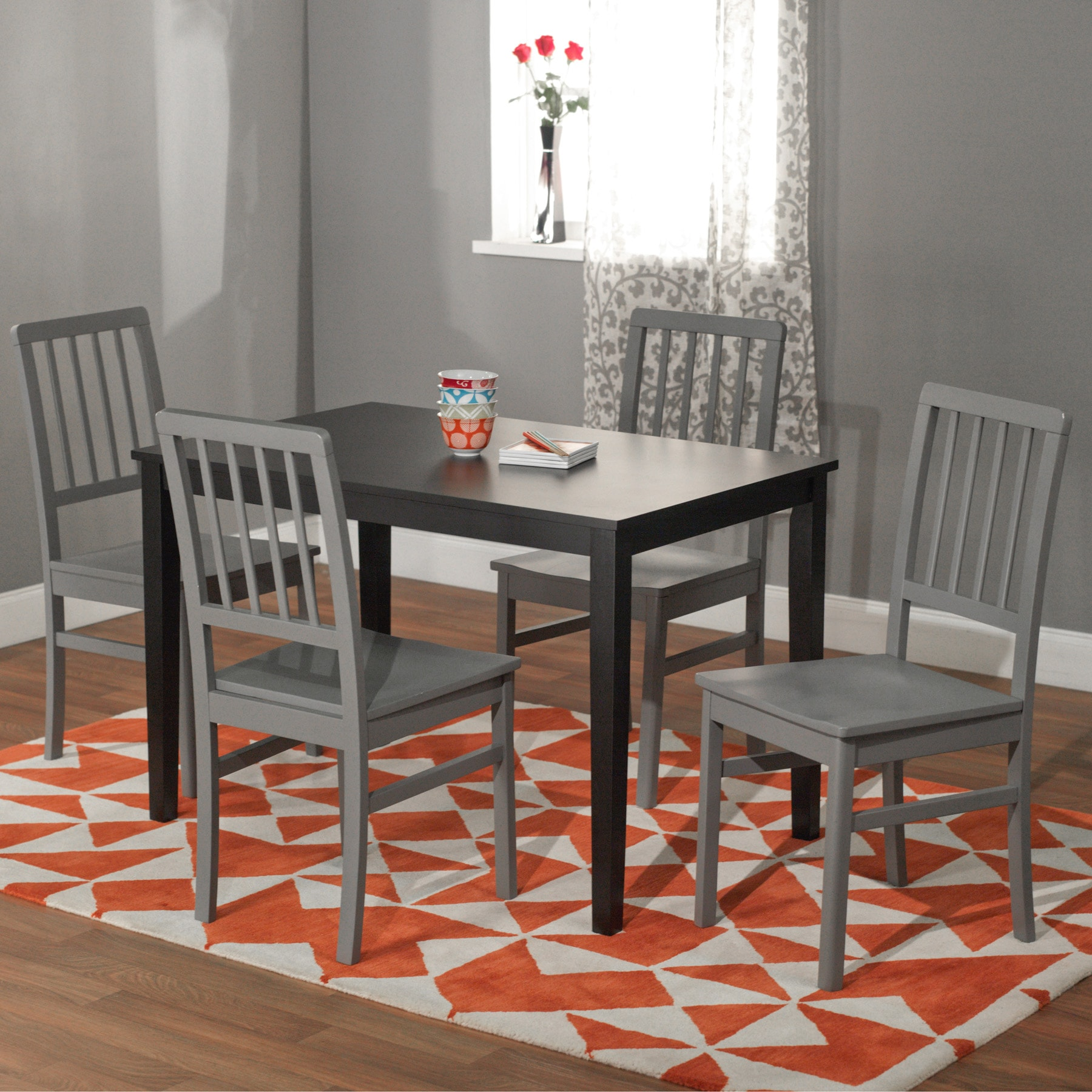 Black and Grey 'Camden' 5-piece Contemporary Dining Set at Sears.com