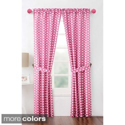 'Layla' 84-inch Polka Dot Curtain Panel Pair with Tiebacks