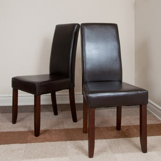 'Normandy' Brown Leatherette Parson Chairs (Set of 2)