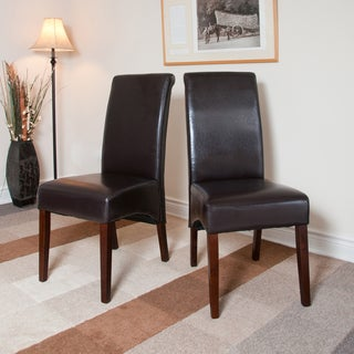 'Franklin' Dark Brown Leatherette Parson Chairs (Set of 2)