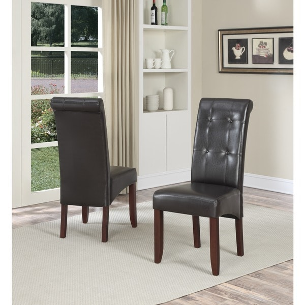 WYNDENHALL Essex Dark Brown Faux Leather Tufted Parson Chairs (Set of 2)