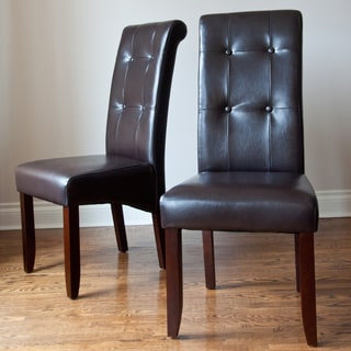 Essex' Dark Brown Leatherette Tufted Parson Chairs (Set of 2