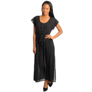 Stanzino Women's Black Long Short Sleeve Shirt Dress