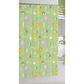 Green Safari Print Cotton Shower Curtain