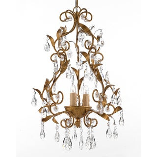 Goldtone 3-light Crystal Chandelier