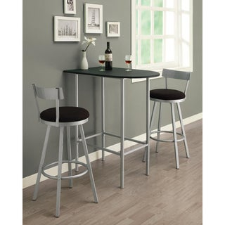 Silver/ Black Swivel Stool Bar Set