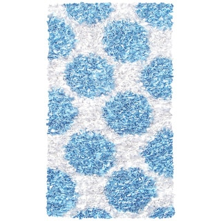 Manam Polkamania Blue and White Shag Rug (3' x 5')
