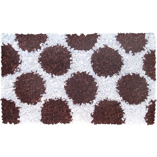 Manam Polkamania Brown and White Shag Rug (5' x 8')