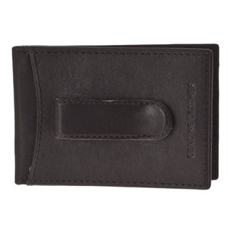 Jospeh Abboud Men's Brown Leather Super Slim Money Clip Wallet