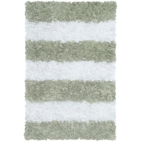 Manam Sage and White Stripe Shag Rug