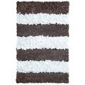 Manam Brown and White Stripe Shag Rug