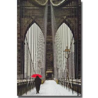 Michael Cahill 'Brooklyn Bridge Meets Red' Canvas Art