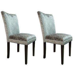 Silver Damask Fabric Parson Dining Chairs (Set of 2)