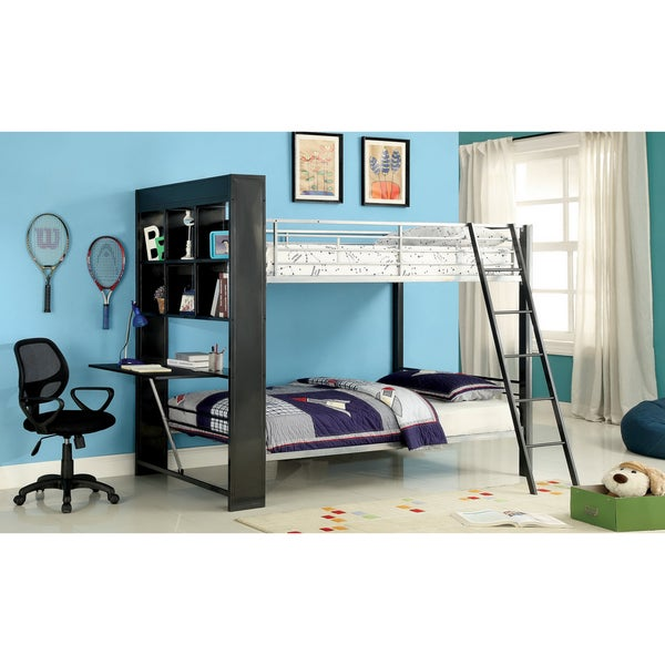 Furniture of America Buddy Twin-over-twin Bunk Bed with Attached Bookshelf