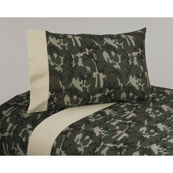 Sweet JoJo Designs 200 Thread Count Green Camo Bedding Collection Cotton Sheet Set