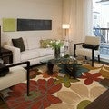 Indoor Ivory and Gold Contemporary Floral Rug (10' X 13')