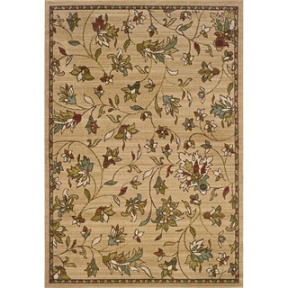 Indoor Gold/ Brown Floral Area Rug (10&#39; X 13&#39;)