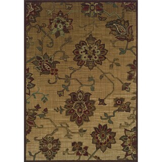 Indoor Beige/ Red Nylon Area Rug (9&#39;10 X 12&#39;9)