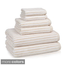Luxury Turkish 650 GSM Cotton Striped Collection 6-piece Towel Set