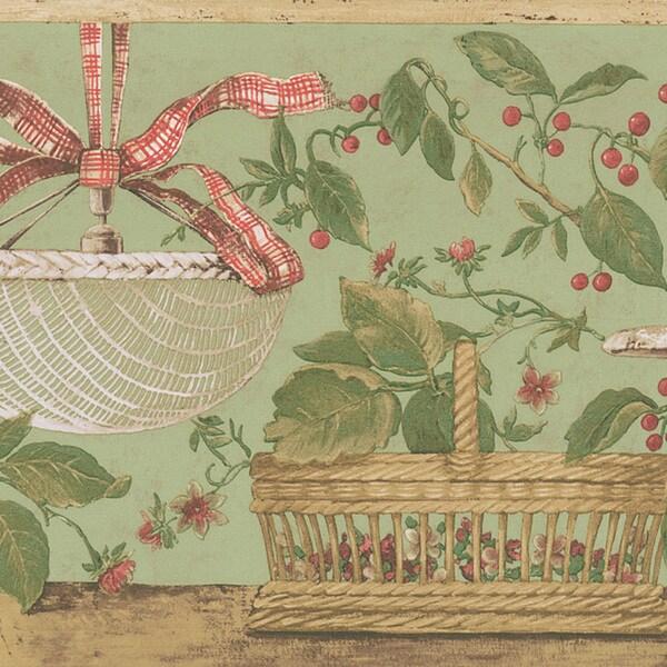 Green Basket Border Wallpaper