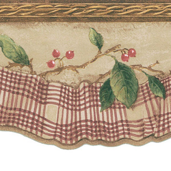Burgundy Berry & Ribbon Border Wallpaper