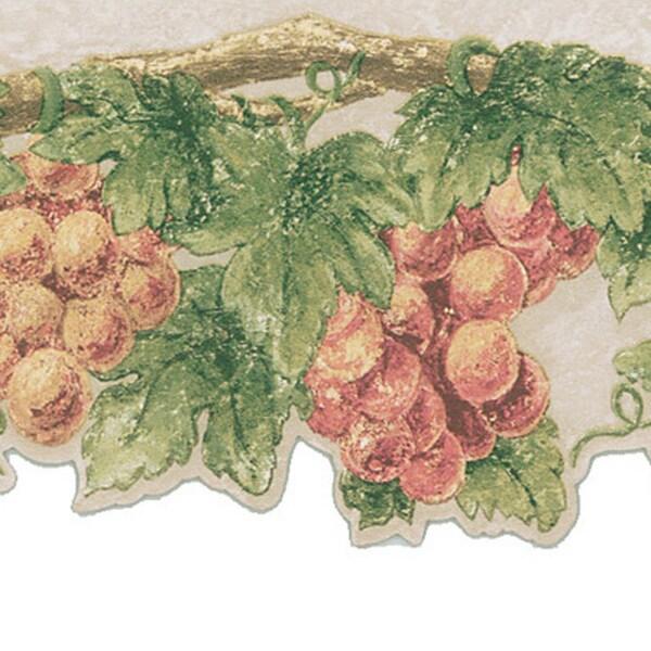 Taupe Grape Vine Border Wallpaper