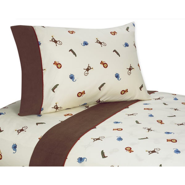 Sweet JoJo Designs Jungle Time Bedding Collection Cotton Sheet Set