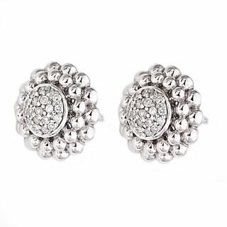 Beverly Hills Charm Sterling Silver 1/4ct TDW Diamond Beaded Frame Stud Earrings (H-I, I1-I2)