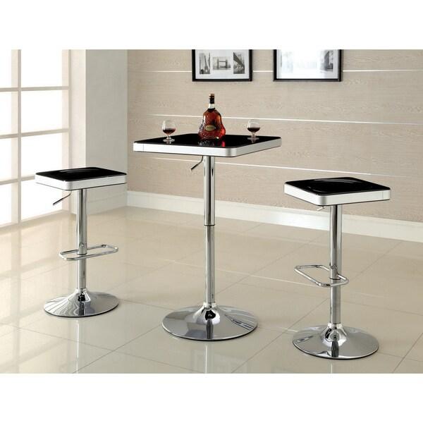 Furniture of America 'Jetson' Square Adjustable Swivel Black-top Bar Stools (Set of 2)