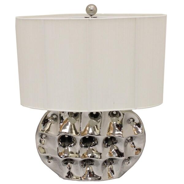 Casa Cortes Artisan High Brushed Silver Ceramic 26-inch Table Lamp