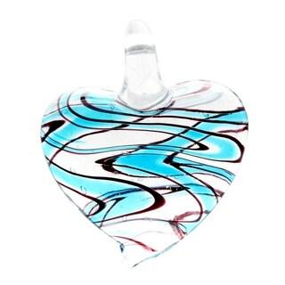 Murano-Inspired Glass Blue Zebra Heart Necklace Pendant