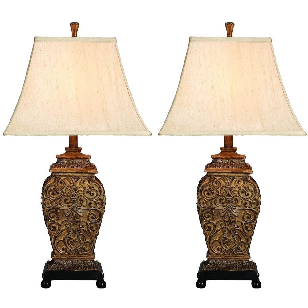 casa cortes frech scrolls 3 way 30 inch table lamp set of 2. Black Bedroom Furniture Sets. Home Design Ideas