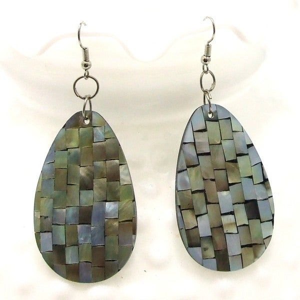 Mosaic Harmony Abalone Teardrop Handmade Earrings (Philippines)