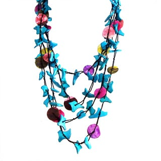 Colorful Strands Coco Palm Wood and Shell Necklace (Philippines)