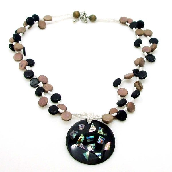 Abalone Collage Medallion Natural Wood Strands Necklace (Philippines)