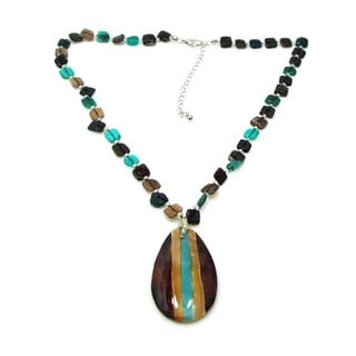 Modern Teardrop Hand Painted Hammer Shell Necklace (Philippines)