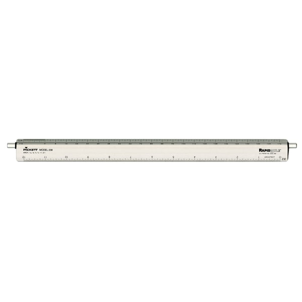Chartpak 12-inch Adjustable Triangular Scale Aluminum Architects Ruler