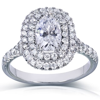 Annello 14k White Gold 1 3/8ct TDW Oval Certified Diamond Engagement Ring (EF, SI2)
