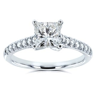 Annello 14k White Gold 1 1/6ct TDW Princess or Round Diamond Engagement Ring (H-I, I1-I2)