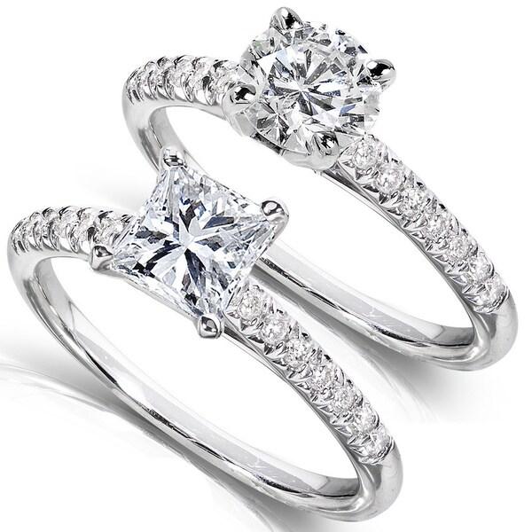Annello 14k White Gold 1 1/6ct TDW Princess or Round Diamond Engagement Ring (H-I, I1-I2)