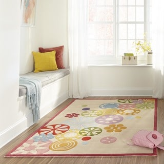 Hand-tufted Momeni Lil&#39; Mo Hipster Ivory Pinwheel Rug (8&#39; x 10&#39;)