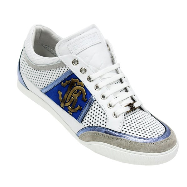 Roberto Cavalli Men's White and Blue Leather Sneakers