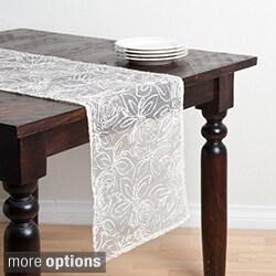 Saro Rose Design Table Runner, Topper, or Decorative Pillow