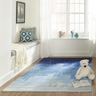 Hand-tufted Momeni Lil&#39; Mo Hipster Jetsetter Blue Rug (3&#39;0 x 5&#39;0)