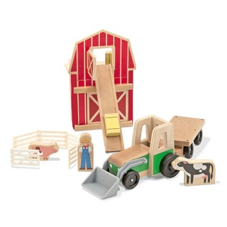 Melissa & Doug Whittle World-9-Piece Wooden Farm and Tractor Set